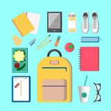School illustration. This is perfect flat design illustration of school topic.All you need for back to school bagpack, lunch-box, notebooks, pens, pencil, apple Stock Image