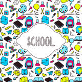 School illustration with various hand drawn elements. School theme card design, various hand drawn school elements Stock Photography