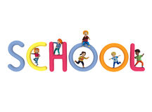 School illustration. Wonderful volume illustration about school topic. Playing happy kids and volume education object on the white background. Colorful and nice Stock Image