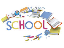 School illustration. Wonderful volume illustration about school topic. Playing happy kids and volume education object on the white background. Colorful and nice Royalty Free Stock Photos