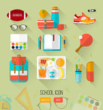 School illustration workspace. Set of high school object. Royalty Free Stock Photo