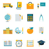 School isolated icons set modern trendy flat vector illustration Stock Photography