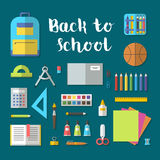 School isolated supplies. Back to school flat contour design modern vector illustration with education icon set Royalty Free Stock Photography