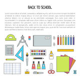 School isolated supplies icon set. Back to school flat contour design modern vector illustration background with education Royalty Free Stock Images