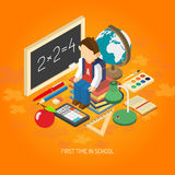 School isometric concept poster. First school day educational isometric poster with scholar sitting on his books with backpack abstract vector illustration Stock Photos