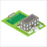 School isometric icon. School with American football field isometric icon Stock Images