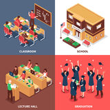 School 4 Isometric Icons Concept royalty free illustration