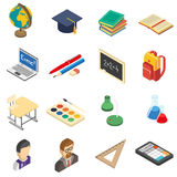 School isometric icons set. School education accessories isometric icons set with calculator and retort in chemistry lab abstract isolated vector illustration Royalty Free Stock Image