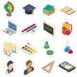 School isometric icons set vector illustration