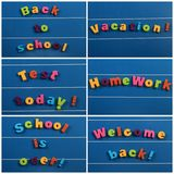 School items. Words on a board royalty free stock image