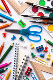 School items. Assortment of various school items, white background Royalty Free Stock Photos