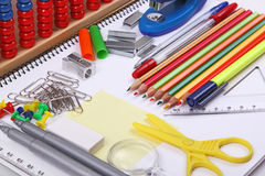 School items. Variety of school items on notebook royalty free stock photos