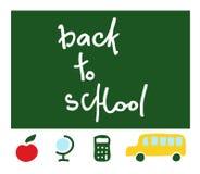 School items,  `back to school`. vector. School items - school blackboard with words `back to school`, red apple, globe, calculator and school bus. vector Stock Photos