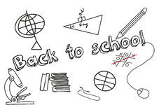 School items. Freehand drawing school items over white background Royalty Free Stock Photos