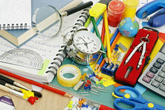 School items. Large variety of school items Royalty Free Stock Image