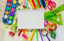 School items. It`s time to go to school. Selective focus. Stock Images