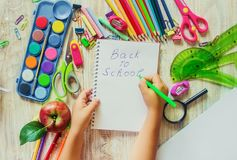 School items. It`s time to go to school. Selective focus. Royalty Free Stock Photos