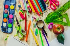 School items. It`s time to go to school. Selective focus. Royalty Free Stock Images