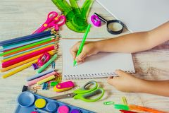 School items. It`s time to go to school. Selective focus. Royalty Free Stock Photography