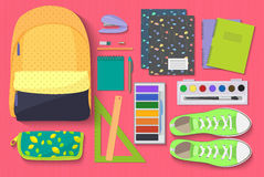 School Items set on bright background. Learn and Study concept vector illustration. Stock Images