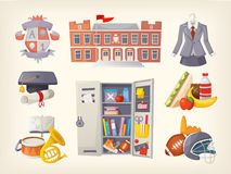 School items and stickers Stock Image