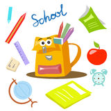 School items vector illustration cartoon style. Art Royalty Free Stock Photo