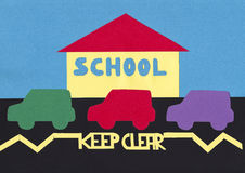 School Keep Clear. Cut out shapes image illustrating problem with safe parking outside school royalty free illustration