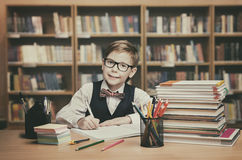 School Kid Education, Student Child Write Book, Little Boy. In glasses, Vintage Library Classroom Royalty Free Stock Photos