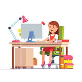 School kid girl studying in front of the computer royalty free illustration