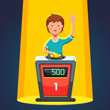 School kid playing quiz game answering question. Standing at the stand with button. Boy pressed the buzzer first and raised hand up in the light of spotlight royalty free illustration