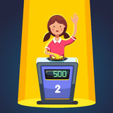 School kid playing quiz game answering question. Standing at the stand with button. Girl pressed the buzzer first and raised hand up in the light of spotlight royalty free illustration