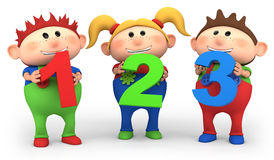 School kids with 123 numbers. Cute little cartoon kids with 123 numbers - high quality 3d illustration Stock Photography