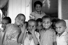 School kids. In Viti Levu, Fiji Stock Photo
