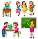 School kids. Set of children and teacher at school Royalty Free Stock Images