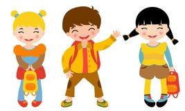 School kids. An illustration of three school kids Royalty Free Stock Images