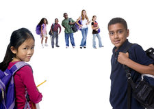 School Kids. Young kids are ready for school. Education, family, learning stock image