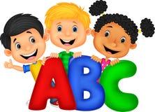 School kids with ABC vector illustration