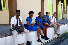 School kids in Antigua, Caribbean Stock Photo