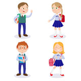 School Kids with Backpacks and Books. Happy Boys and Girls Go to School Royalty Free Stock Images