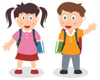 School Kids with Bag and Book. Two school kids with schoolbags and holding a book. Eps file available Stock Photography