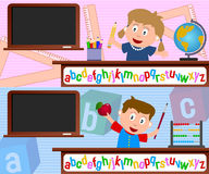 School Kids Banners. Two school banners (girl and boy) useful also for scrapbook or website. Eps file available Royalty Free Illustration