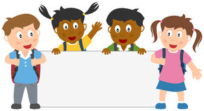 School Kids with Blank Banner. A group of four multicultural kids with schoolbags holding a blank banner. Eps file available vector illustration