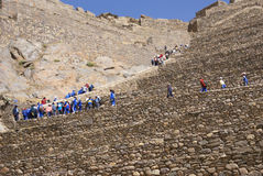 School kids in blue climbing agricultural terraces Royalty Free Stock Photo