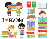 School Kids Boy and Girl Reading Books vector illustration