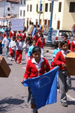 School kids carrying banners Stock Image