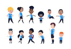 School kids. Cartoon happy children in uniform. Girls and boys pupils isolated vector characters vector illustration