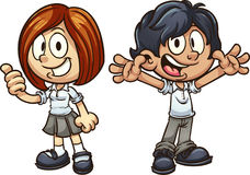 School kids. Cartoon kids in uniform. Vector clip art illustration with simple gradients. Each on a separate layer Stock Image