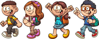 School kids. Cartoon school kids walking. Vector clip art illustration with simple gradients. Each on a separate layer stock illustration