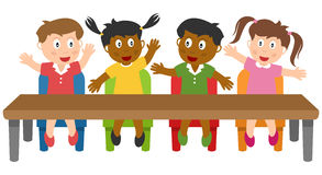School Kids in the Classroom. A group of four multicultural kids in a classroom. Eps file available royalty free illustration