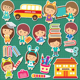 School kids clip art Stock Photos